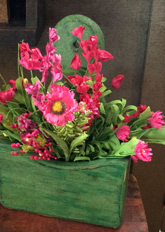 Pink Flowers & Green Box